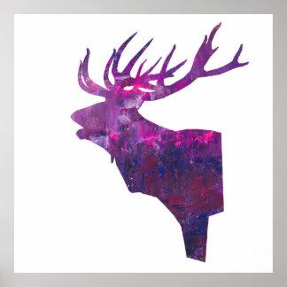 Pôster veado principal dos cervos no lilac cor-de-rosa