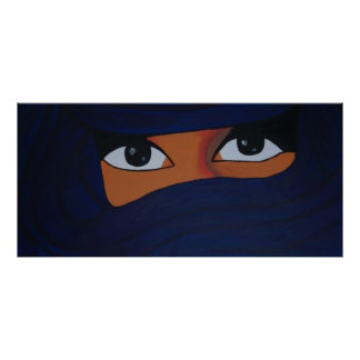 Poster Veiled em blue woman dark