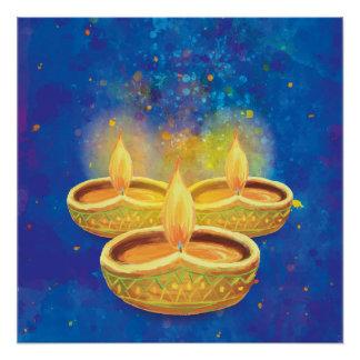 Pôster Velas illuminating pintados mão felizes de Diwali