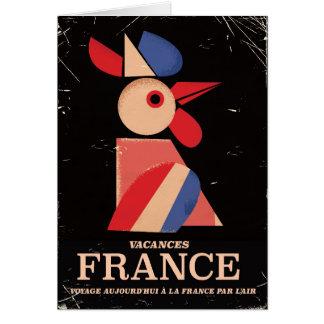 Poster velho das férias de France do vintage Cartão Comemorativo