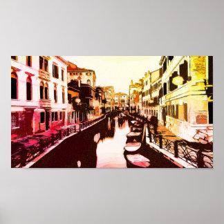 Poster Venedig, arco-íris Popart do panorama de Veneza