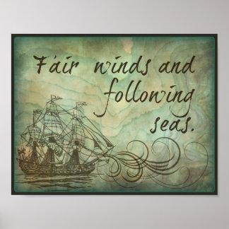 Pôster Ventos justos e mares de seguimento