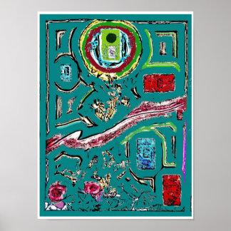 Poster verde do Expressionism abstrato da porta Pôster
