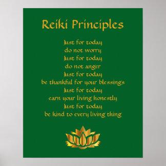 Poster Verde dos princípios de Reiki e ouro Lotus
