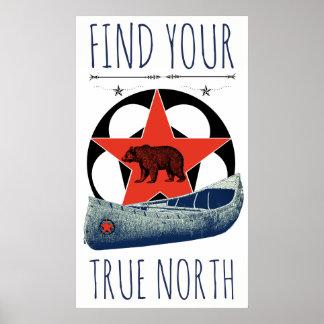 Poster vermelho da estrela da canoa do urso
