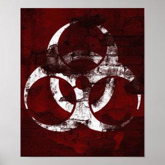 Poster vermelho da ilustração do Bio-Perigo da