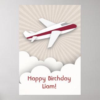 Poster vermelho do aniversário do avião