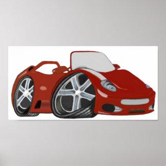 Poster vermelho do carro dos desenhos animados