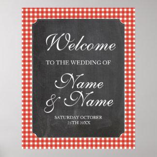Poster vermelho do casamento do sinal da