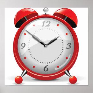 Poster vermelho do despertador