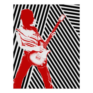 Poster vermelho do guitarrista