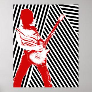 Poster vermelho do guitarrista pôster