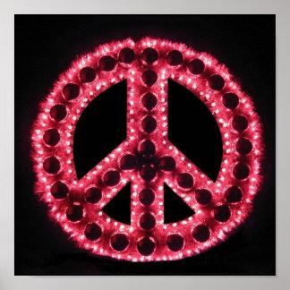 poster vermelho do sinal de paz