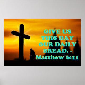 Pôster Verso da bíblia de Matthew 6: 11.
