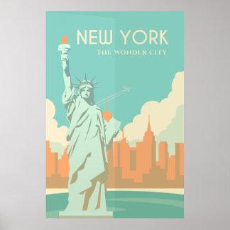 Pôster Viagem da Nova Iorque da estátua da liberdade do