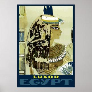 Pôster Viagem das ruínas de Luxor Egipto do vintage