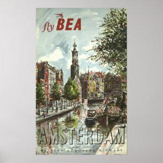Pôster Viagem de Amsterdão do vintage