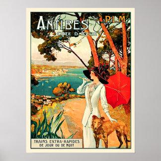 Poster Viagem de Antibes Cote d'Azur do vintage