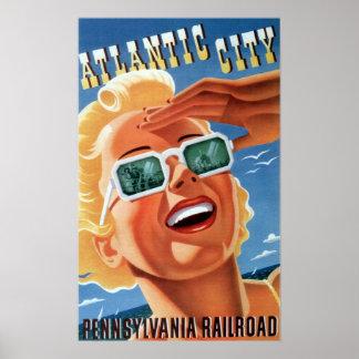 Poster Viagem de Atlantic City da estrada de ferro de