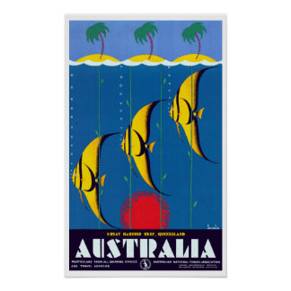 Pôster Viagem de Austrália do recife de coral do vintage