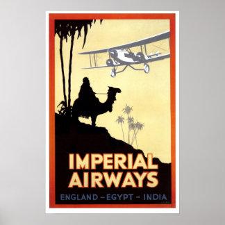 Pôster Viagem de Egipto do camelo e do avião do vintage