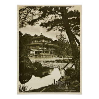 Pôster Viagem de Japão do templo budista de Kinkaku-ji do