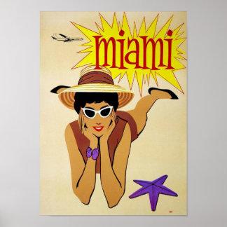 Poster Viagem de Miami Florida do vintage