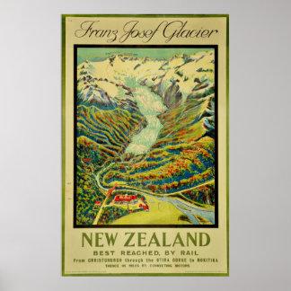Poster Viagem de Nova Zelândia da geleira de Franz Josef