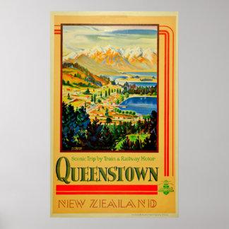 Poster Viagem de Queenstown Nova Zelândia do vintage