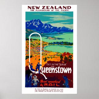 Pôster Viagem de Queenstown Nova Zelândia do vintage