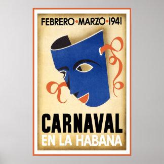 Poster Viagem do en La Habana Havana Cuba de Carnaval do