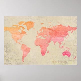 Pôster viagem envelhecido do mapa do mundo da aguarela do