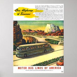 Pôster Viagem futurista do ônibus do vintage