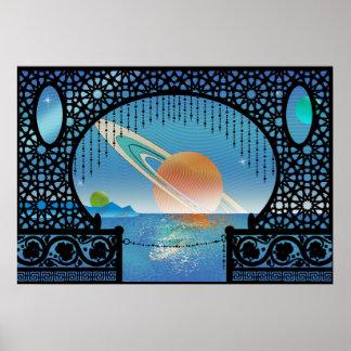Pôster Viagem interplanetário do ~ do bungalow de Utopia