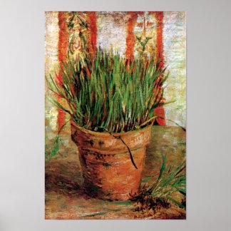 Pôster Vincent van Gogh - Flowerpot com cebolinho