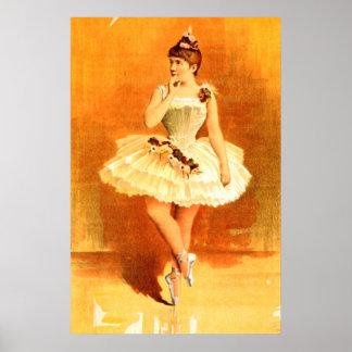 Poster vintage 1890 da menina da bailarina das