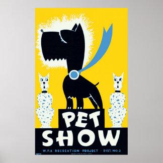 Poster vintage 1937 de WPA da mostra do animal de