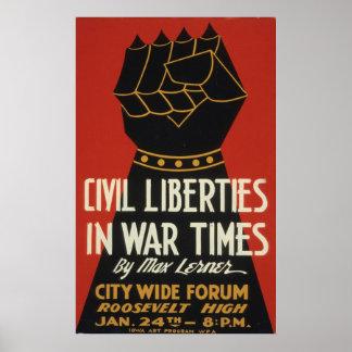 Poster vintage 1940 da liberdade civil WWII WPA