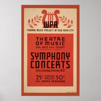 Poster vintage 1940 de WPA da música de teatro de