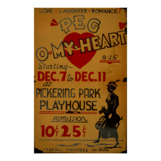 Poster vintage 1940 de WPA do drama do coração de