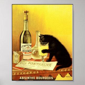 Poster vintage burguês do absinto