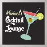 Poster vintage, cocktail do vidro de Martini