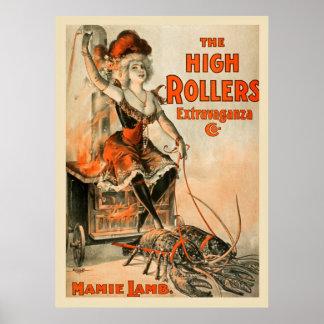 Poster vintage da extravagância dos rolos altos
