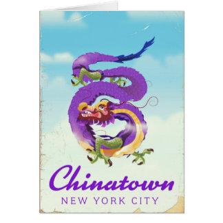 Poster vintage da Nova Iorque de Chinatown Cartão