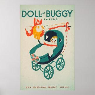 Poster vintage da parada da boneca & do carrinho