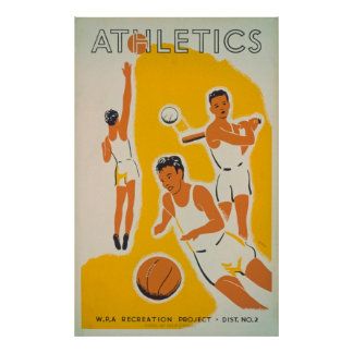 Poster vintage da recreação do atletismo