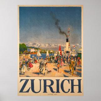 Poster vintage da suiça de Zurique