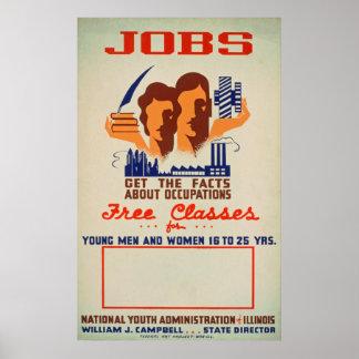Poster vintage das classes de trabalho