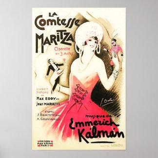 Poster vintage de Comtesse Maritza do La