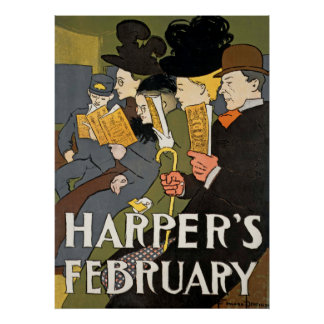 Poster vintage de fevereiro dos harpistas